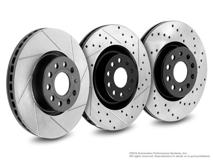 Neuspeed Slotted & Drilled Front Rotors for A3, Eos, Passat, GTI & CC, Jetta GLI