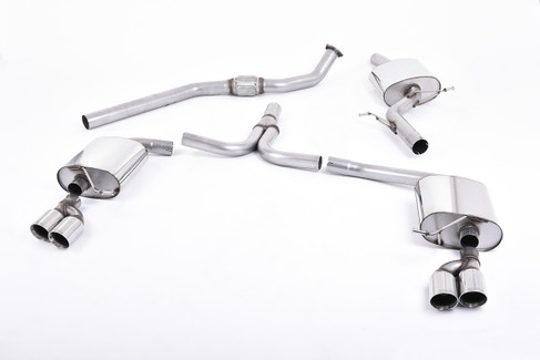 Milltek Resonated Catback Exhaust System Quad Outlet for B8 A4 2.0T manual trans (SSXAU249)