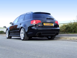 Milltek Resonated (Queter) Non-Valved Cat-Back Exhaust System w/ Black Oval Tips for Audi B7 RS4