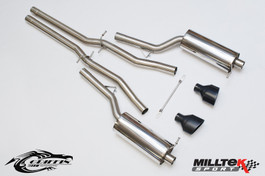 Milltek Non-Resonated (Louder) Cat-Back Exhaust System w/ Black Tips for Audi RS6 V8 Bi-Turbo