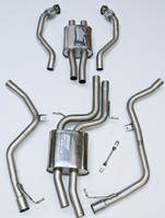 Milltek Non-Resonated (Louder) Cat-Back Exhaust System w/ Polished 80mm Quad Tips for Audi B8 S4 3.0T
