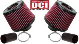 Burger Motorsport Dual Cone Performance Intake Kit for BMW N54 (Red Filters)