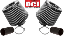 Burger Motorsport Dual Cone Performance Intake Kit for BMW N54 (White Oiled Filters)