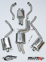 Milltek Resonated (Quieter) Cat-Back Exhaust System w/ Ceramic Black 80mm Quad Tips for Audi B8 S5 3.0T