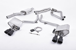 Milltek ValveSonic Front X Pipe (Louder) Exhaust System w/ Ceramic Black 100mm Quad Tips for Audi B8.5 S4/S5 3.0T