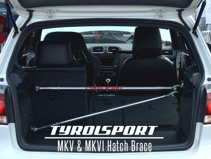 Tyrolsport Aluminum Hatch Brace (Upper & Lower Triangulated Bars Stage 2) for MK5/MK6 VW & Audi A3 8P (TSMSHB-A2)