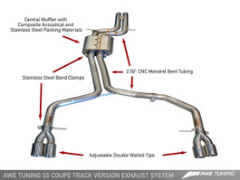 AWE Tuning Track Edition Exhaust System for Audi S5 4.2L, Diamond Black Tips (3020-43014)