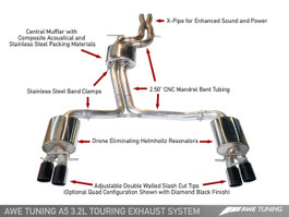AWE Tuning Touring Edition Exhaust System for Audi A5 3.2L, Quad 90mm Slash Silver Tips (3015-42024)