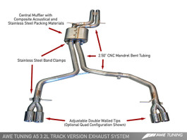 AWE Tuning Track Edition Exhaust System for Audi A5 3.2L, Quad 90mm Slash Cut Silver Tips (3020-42012)