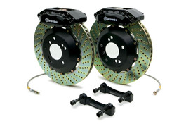 Brembo Front 4 Piston Black Calipers with 328x28 2-Piece Drilled Rotors