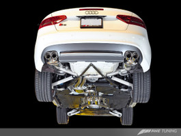 AWE Tuning Touring Edition Exhaust System (Exhaust + Non-Resonated Downpipes) for Audi S5 Cabrio - Chrome Silver Tips