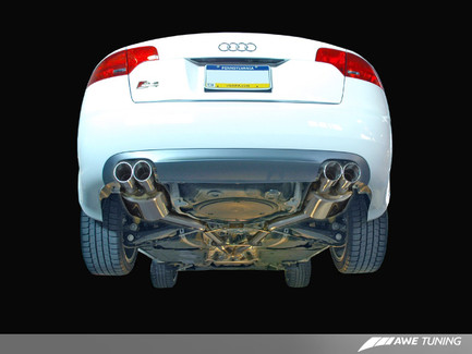 AWE Tuning Track Edition Exhaust for Audi B7 S4 - Polished Silver Tips (3020-42010)