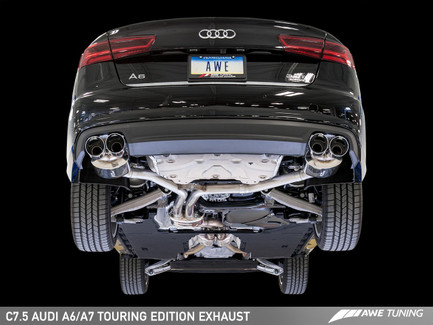 AWE Tuning Touring Edition Exhaust for Audi C7.5 A7 3.0T - Quad Outlet, Diamond Black Tips (3015-43074)