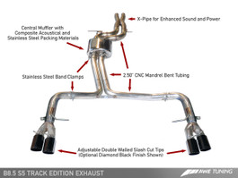AWE Tuning Track Edition Exhaust for 2013+ Audi S5 3.0T - Chrome Silver Tips (90mm)