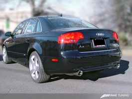 AWE Tuning Track Edition Dual Tip Exhaust for Audi B7 A4 3.2L - Diamond Black Tips