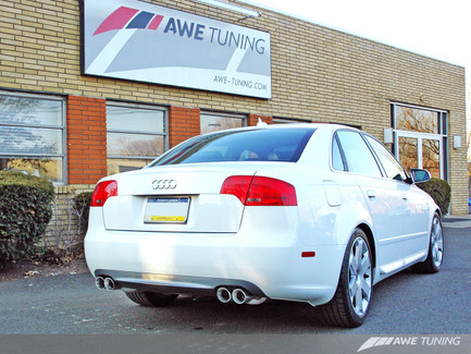 AWE Tuning Track Edition Quad Tip Exhaust for Audi B7 A4 3.2L - Diamond Black Tips