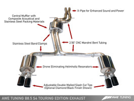 AWE Tuning Touring Edition Exhaust System for Audi S4 3.0T 2013-2016, Chrome Silver Tips (102mm)