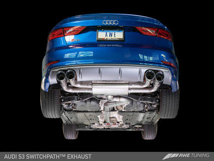 AWE Tuning SwitchPath Exhaust with Diamond Black Tips, 90mm for Audi S3 8V