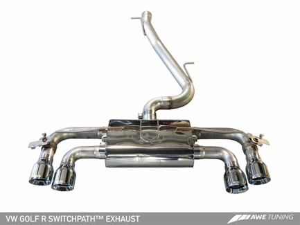 AWE Tuning SwitchPath Exhaust with Chrome Silver Tips, 90mm for Mk7 VW Golf R (3025-42018)