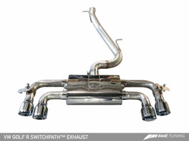 AWE Tuning SwitchPath Exhaust with Diamond Black Tips, 90mm for Mk7 VW Golf R