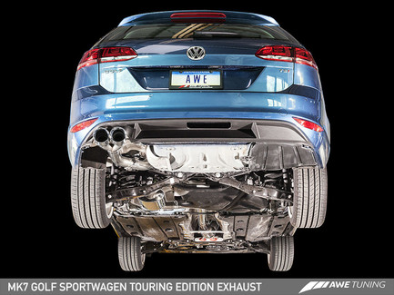 AWE Tuning Touring Edition Exhaust - Diamond Black Tips (90mm) for VW Mk7 Golf SportWagen