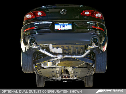 AWE Tuning Touring Edition Exhaust, Dual Outlet - Diamond Black Tips for VW CC 2.0T