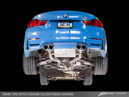 AWE Tuning Resonated SwitchPath Exhaust, Chrome Silver Tips (102mm) for BMW F8x M3/M4