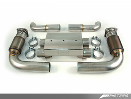 AWE Tuning Performance Muffler with 200 Cell Cats - OE Tips for 2007-2009 Porsche 911