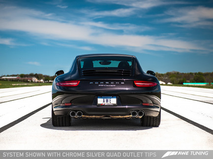 AWE Tuning Performance Exhaust for Porsche 911 Carrera 991, Chrome Silver Tips