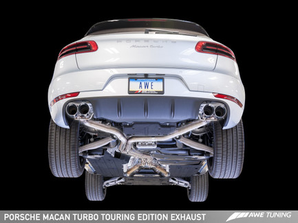 AWE Tuning Touring Edition Exhaust System, Chrome Silver 102mm Tips for Porsche Macan