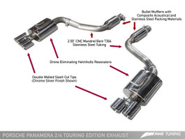 AWE Tuning Touring Edition Exhaust for (2014+) Panamera 2/4 with Chrome Silver Tips