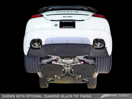 AWE Tuning Performance Exhaust System Track Edition, Diamond Black Tips for Porsche Panamera Turbo