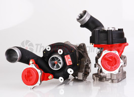 Picture is of RS6 C5 TTE650 Turbochargers with extra cost options: Black Hi-Temp coated compressor housing, Ported exhaust housings, Ported discharge outlets, Red actuators, Lightened turbines.