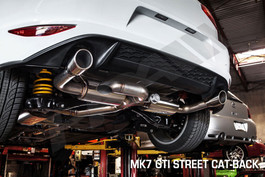 HPA Cat-Back Street Exhaust w/ Center Muffler for Mk7 VW Golf GTI, Black tip (HPA-CBE-mk7-st-Blk)