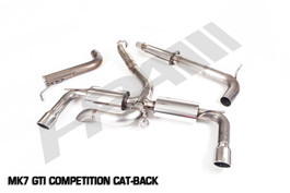 HPA Cat-Back Competition Exhaust w/o Center Muffler for Mk7 VW GTI, Silver tip (HPA-CBE-Comp-mk7-Slv)