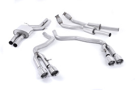 Milltek Non-Resonated Catback Exhaust, 100MM Quad Polished Tips for Audi S6/S7 4.0T (SSXAU372)