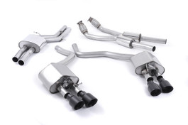 Milltek Resonated Valvesonic Catback Exhaust, Black 100 mm Quad Tips for Audi S6/S7 4.0T (SSXAU447)