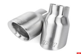 "APR Slash-Cut Double-Walled 3.5"" Brushed Silver Exhaust Tips - Set of 2 Tips (TPK0007)"