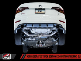 AWE Non-Resonated Track Edition Exhaust for MK7 Jetta GLI w/ Stock Downpipe - Diamond Black Tips (3020-23036)