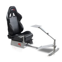 GTR Simulators Touring Model Simulator with Silver Frame and Adjustable Leatherette Racing Seat (T-S-S105L)