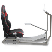 GTR Simulator GT Model with Mounts for Controls, Pedals and Display and Adjustable Leatherette Seat - Silver Frame (GT-S-S105L)
