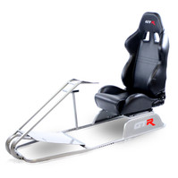 GTR Simulator GTS Model Driving Racing Simulator Cockpit with Adjustable Leatherette Real Racing Seat & Gear Shifter Mount - Silver (GTS+S105L)