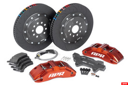 APR Big Brake Kit with 350x34mm floating 2-piece rotor assemblies for Audi S3 8P/TTS 8J & VW Mk6 Golf R / Mk5 R32 (APR-BRK-350x34mm-mk6)