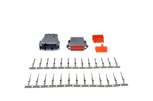 DTM-Style 12-Way Connector Kit. Includes Plug, Receptacle, Plug Wedge Lock, Receptacle Wedge Lock, 13 Female Pins & 13 Male Pins (35-2635)