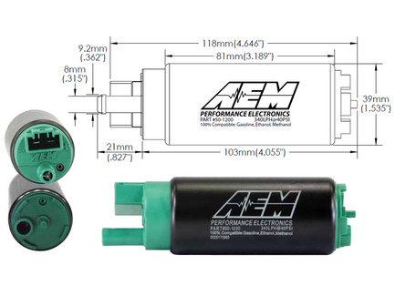 AEM Electronics 340LPH E85-Compatible High Flow In-Tank Fuel Pump (Offset Inlet, Inline) (50-1200)