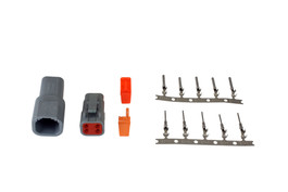AEM Electronics DTM-Style 4-Way Connector Kit. Includes Plug, Receptacle, Plug Wedge Lock, Receptacle Wedge Lock, 5 Female Pins & 5 Male Pins (35-2626)