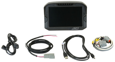 AEM Electronics CD-7L logging race dash, CAN input only, 7-inch diagonal screen, carbon fiber enclosure, wiring harness included (30-5701)