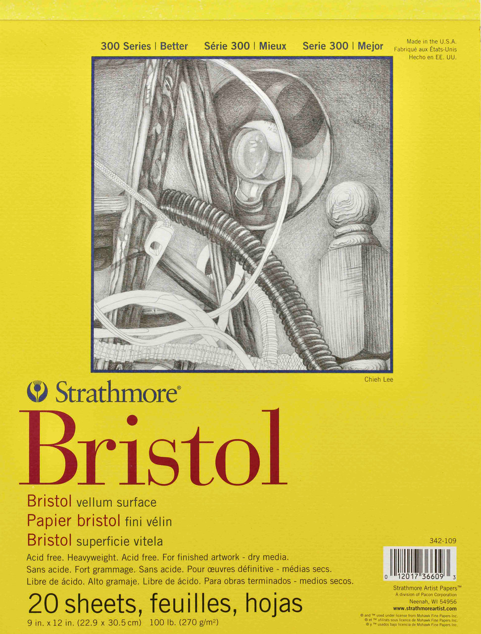 Strathmore 342-109 300 Series Bristol Vellum Pad 20 Sheets 2 Pack 9x12 Tape Bound