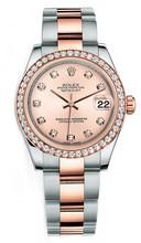 Rolex New Style Datejust Midsize Two Tone Custom Diamond Bezel & Diamond Dial on Oyster Bracelet P178271RDDO
