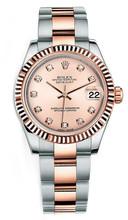 Rolex New Style Datejust Midsize Two Tone Custom Diamond Bezel & Diamond Dial on Oyster Bracelet P178271RDFO